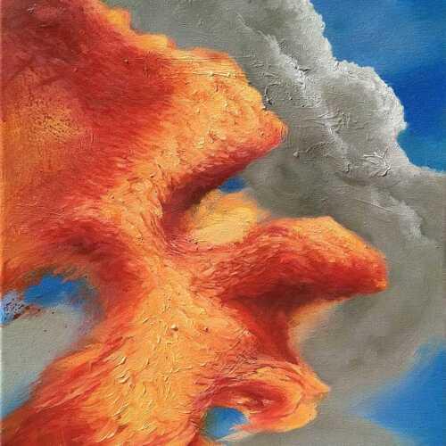 rezavý rez mrak oblaka malba
